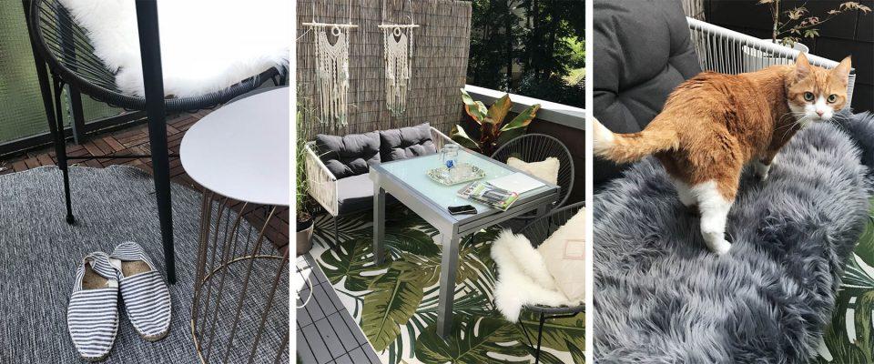 Terrasse mit Outdoorteppich und Fellen