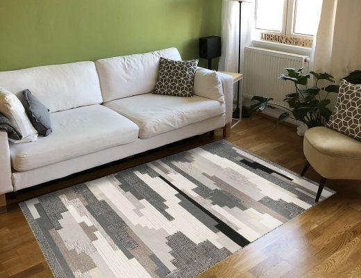 Frische-preview: Handwebteppich Natham Kelim in Wohnzimmer