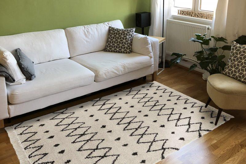 Frische-preview: Wohnzimmer mit Hochflorteppich Calla Braun