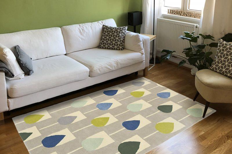 Frische-preview: Wohnzimmer mit Wollteppich Sula Pacific