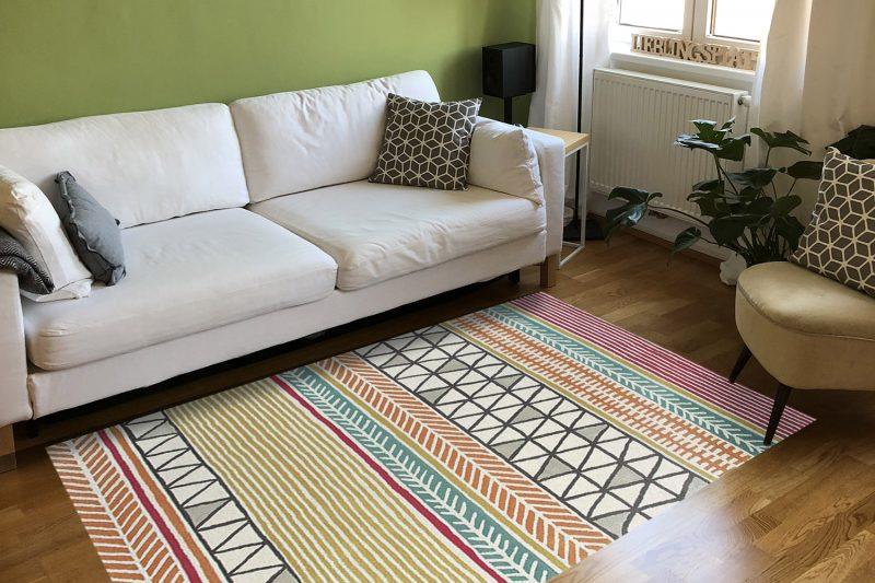 Frische-preview: Designteppich Raita Citrus in Wohnzimmer