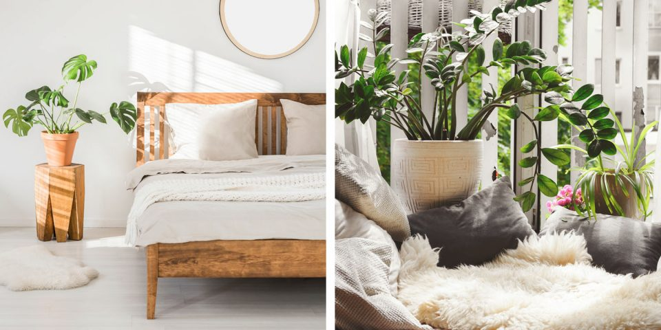 Kollage mit Schaffell im Wohn- und Schlafzimmer