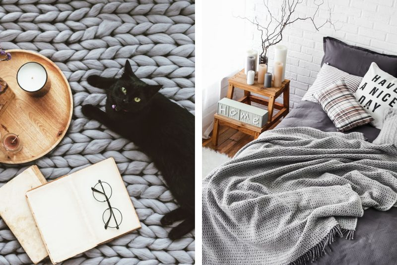 Schlafzimmer-Kollage mit Katze
