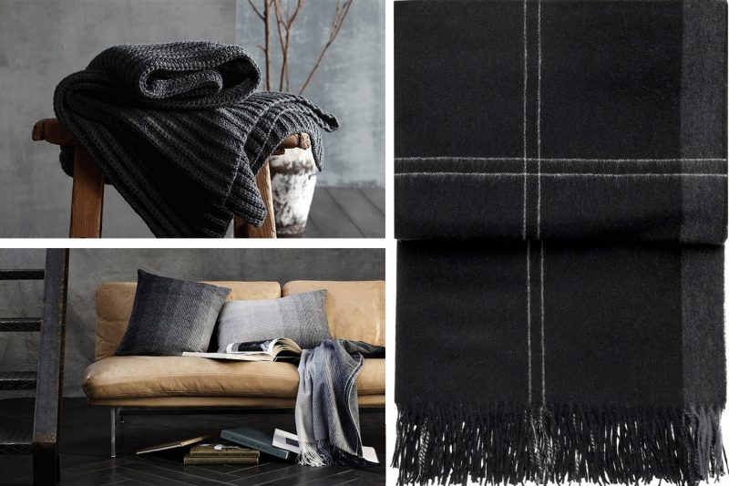 Kollage aus schwarzen Decken und Kissen im Hygge Stil