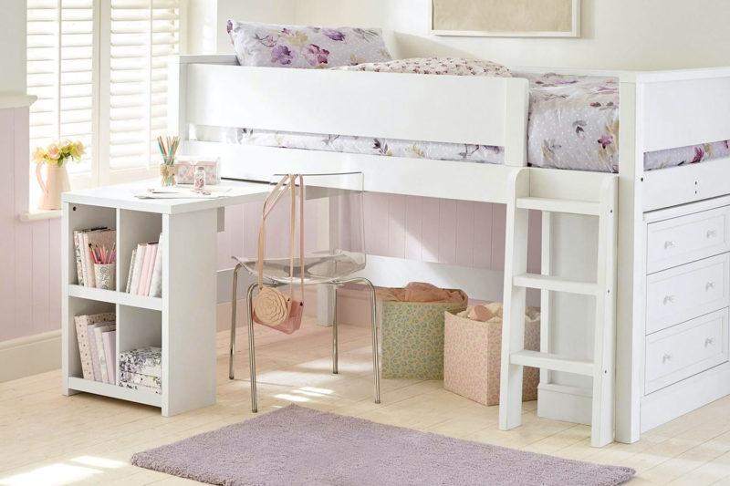Kinderzimmer mit Hochbett in Pastell